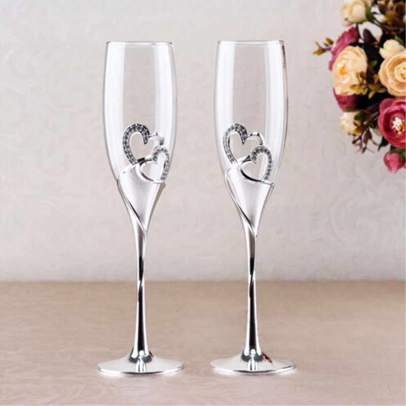 2 Chiếc Bạc Sáng Bóng Mạ Flute Champagne Thủy Tinh Pha Lê/Sâm Panh Cho Đám Cưới Hoặc Tiệc/Người Yêu Đôi Lứa đám Cưới Cao Gót
