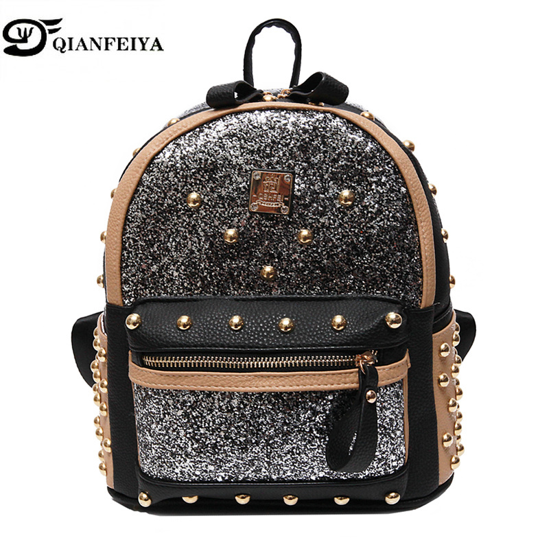 Leather Women Backpack Brand Diamonds Rivet Shoulder Bags for Teenage Girls School Bag mochila Laides Luxury Women Bag louis GG tegaote new design women backpack bags fashion mini bag with monkey chain nylon school bag for teenage girls women shoulder bags