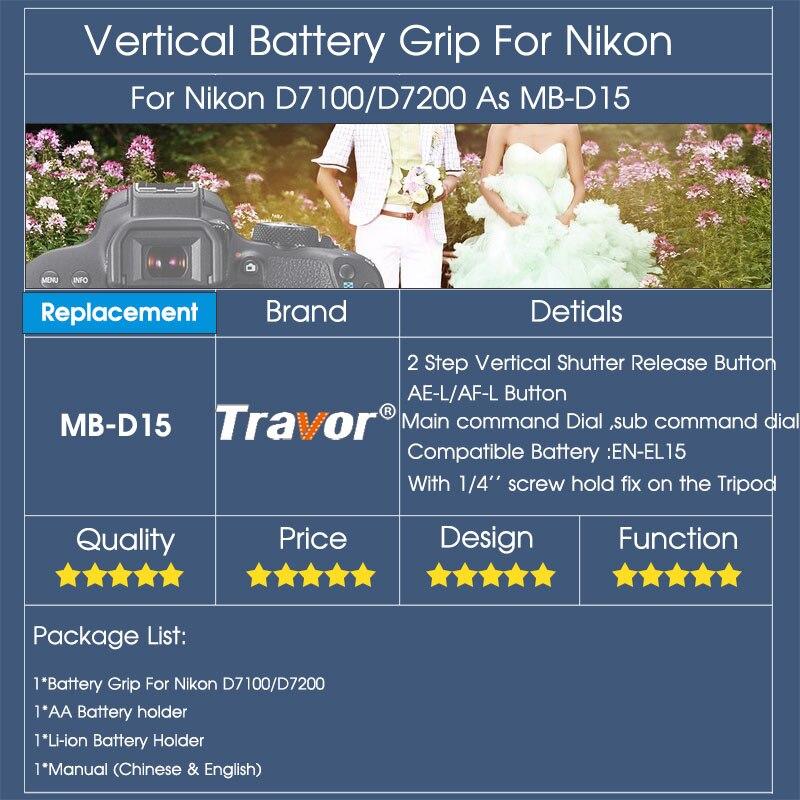 Travor Вертикальная Батарейная ручка держатель для Nikon D7100 D7200 DSLR камера работает с EN-EL15 батареей как MB-D15 MBD15 MB D15