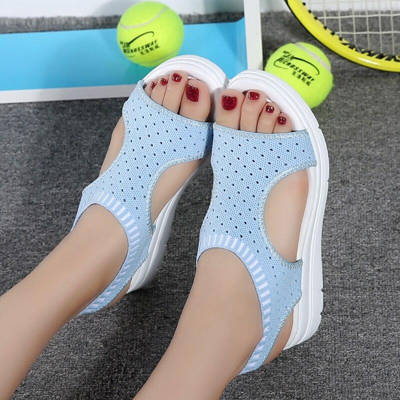 2018 Señoras Sandalias de Verano Planas Salvaje Transpirable Cómodo - Zapatos de mujer - foto 5