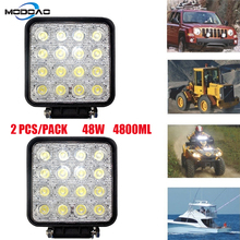 2PCS LED Spotlight 48W Square Car Lights Bar For Truck SUV Boating Hunting Fishing IP67 Waterproof LED Work Light Spot Lamp стоимость