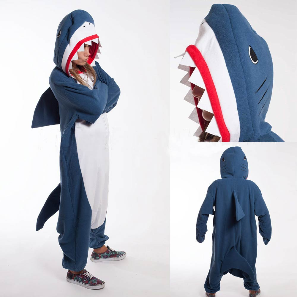 Kigurumi Adult Pyjamas Cosplay Costume Blue Shark Onesie Lemur Sleepwear Homewear Unisex Pajamas Party Clothing For Women Man(China)