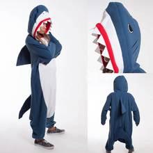 b11f0074bc222f Kigurumi dorosłych piżamy Cosplay kostium niebieski Shark Onesie Lemur  bielizna nocna Homewear Unisex piżama Party odzież
