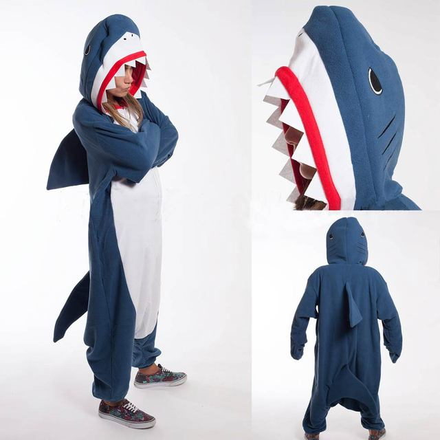 Кигуруми взрослых пижамы косплэй костюм голубая акула Onesie Lemur Домашняя  одежда унисекс Одежда для вечеринок для 8a5f29377cf48