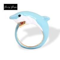 2017 New Style Original Vivid Shark Ring Elegant Noble Animal Jewelry Enamel Glaze Ring