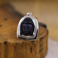 S925 silver jewelry fashion women's obsidian Buddha pendant
