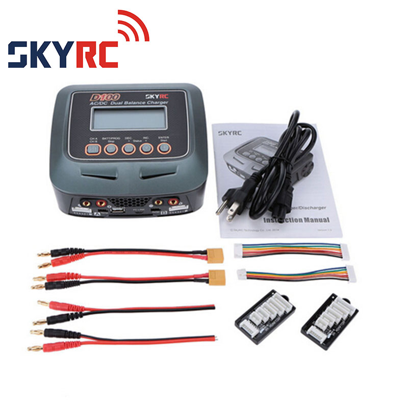 SKYRC D100 Charger AC/DC LiPo 1-6s 2x100W Dual Balance Charger Discharger Lipo LiFe Li-ion NiMh PB skyrc sk 800084 01 b6 mini 6a 60w dc11 18v professional balance charger discharger w t 2 6lcd