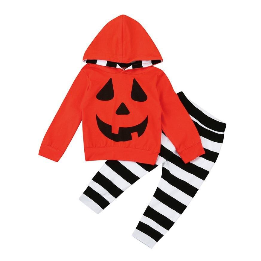 Осень-зима одежда для малышей Детские для маленьких мальчиков Обувь для девочек тыквы с капюшоном Блузка штаны в полоску Хэллоуин комплект ...