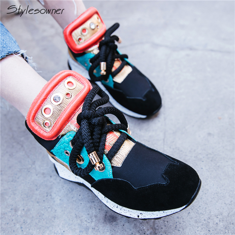 Stylesowner Women New Arrival Lace Up Fashion Casual Shoes 5.5 Wedges Heels Genuine Leather Metal Hollow Comfort Breathable ShoeStylesowner Women New Arrival Lace Up Fashion Casual Shoes 5.5 Wedges Heels Genuine Leather Metal Hollow Comfort Breathable Shoe
