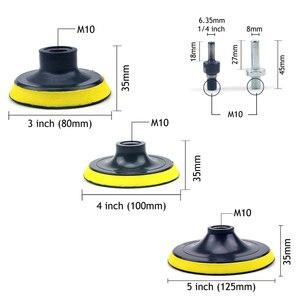 Image 2 - POLIWELL 3 4 5 дюймов M10 резьба самоприлипающая шлифовальные колодки крюк и петля наждачная бумага коврик на присосках Авто шлифовальный абразивный инструмент части