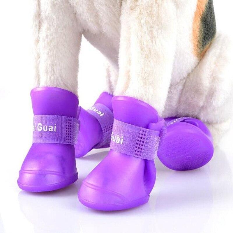4Pcs/ Lot Summer Pet Dog Shoes Waterproof Rain Pet Shoes for Dog Puppy Rubber Boots Portable Durable Puppy Shoes Pet Products 5