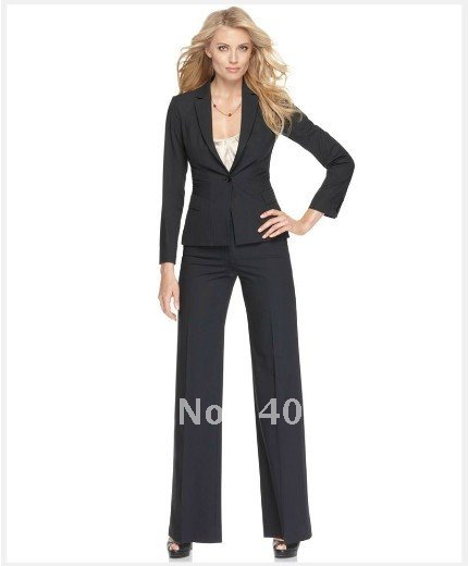 Ladies Suit Black Women Suit Long Sleeve Single Button