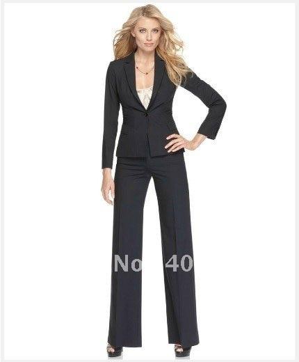 Ladies Suit   Black Women Suit   Long Sleeve Single Button Jacket & Pants  Custom Lady Suit  680