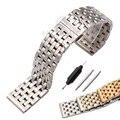 20mm 22mm Pulseira Strap Reta Final de Metal Das Mulheres Dos Homens de Aço Inoxidável Pulseira de Prata Sólida 4 Cores Faixa de Relógio acessórios