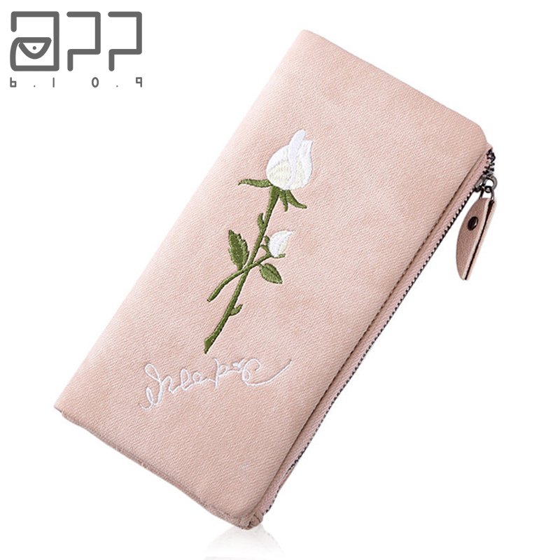 APP BLOG Brand Unique Embroidery Rose Women's Purse 2017 Newest Fashion Double Buckle Clutch High Capacity Wallet Phone Bags