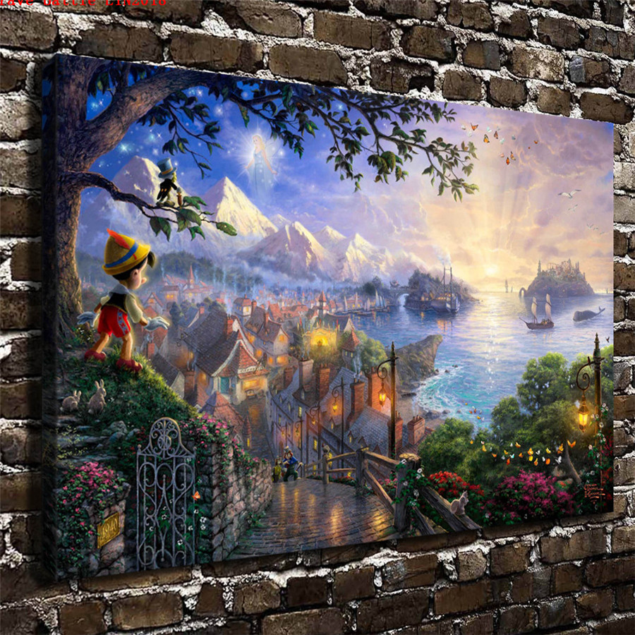 Thomas kinkade pinocchio wishes upon a star canvas - Home interiors thomas kinkade prints ...