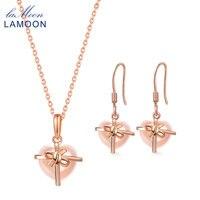 LAMOON Rose Quartz 925 Sterling Silver Sets for Women 2PCS Jewelry Natural Gemstone Lovely Heart Fine Jewelry Set V028 B 6