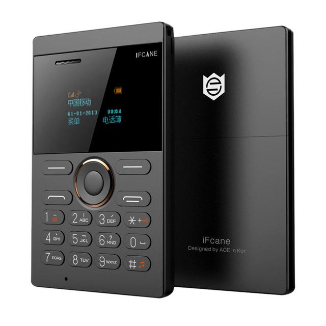 Desbloquear iFcane E1 Envío Libre Portátil Pequeña Tarjeta de Teléfono Móvil con MP3 Bluetooth FM 5.8mm Ultrafino tarjeta mini teléfonos celulares P505