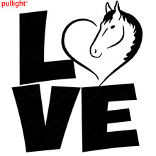 17.8CM*20.8CM Love Horse Heart Vinyl Decal Rodeo Equestrian Car Sticker Auto Decoration Styling