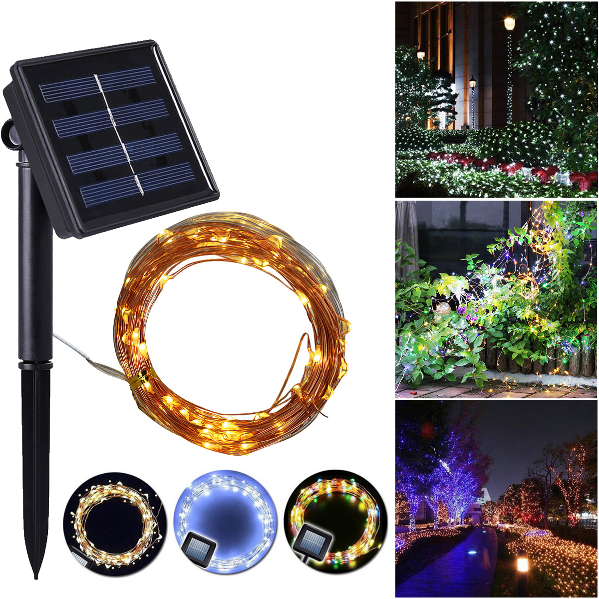 100 200led Solar Powered String Lights Outdoor Waterproof Copper Wire Lights For Garden Festival Decoration Lighting Strings Aliexpress