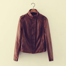 BF Leather Jacket Women 2017 Fashion Vintage Brown Mandarin Collar Slim Short Leather Jackets Women Coat Faux Leather Jacket