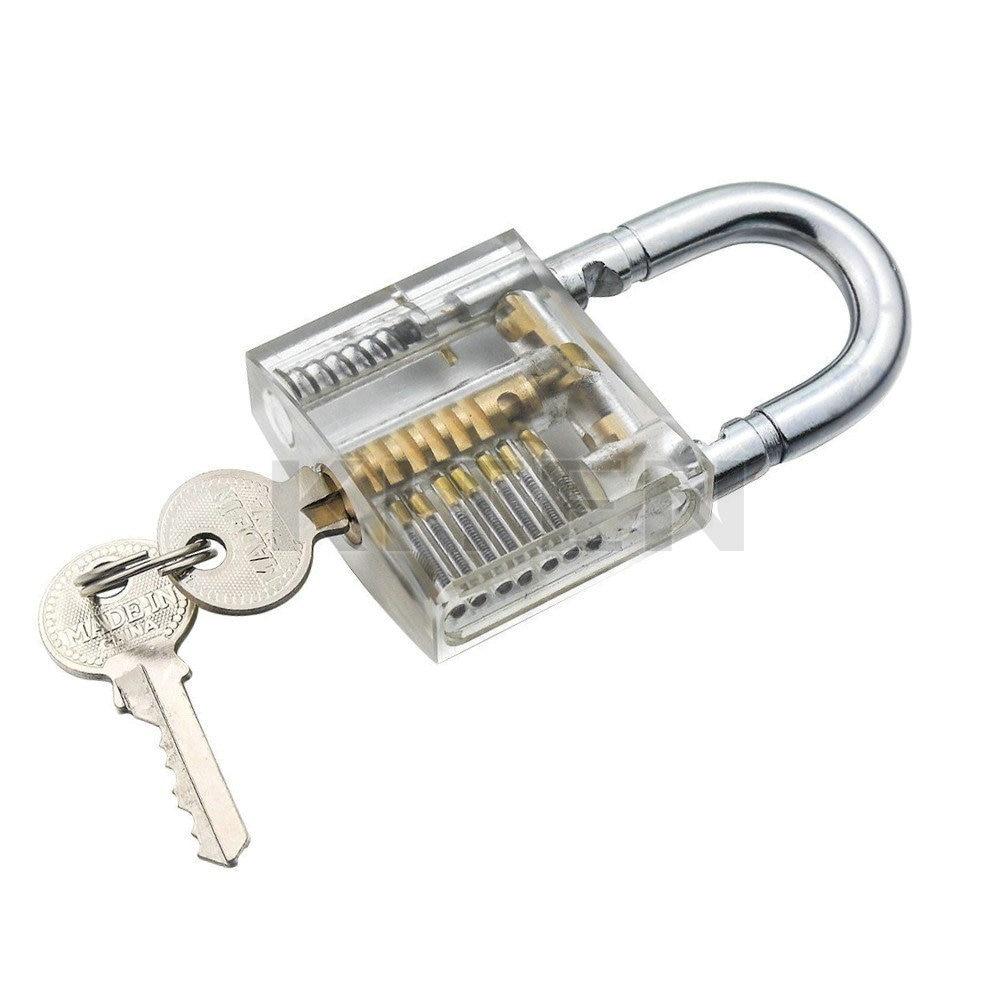 Transparent Visible Pick Cutaway Practice Padlock Lock With Broken Key Removing Hooks Lock Extractor Set Locksmith Tool hakkadeal broken key removal practice padlock set