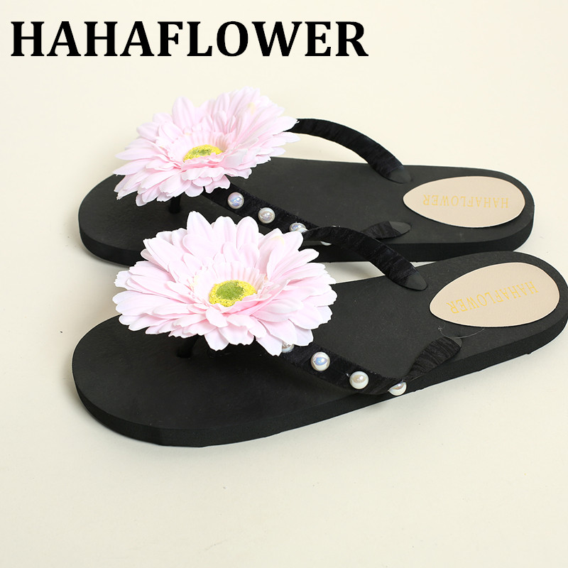 HAHAFLOWER summer women slippers flower slipper beach thong slipper mules clogs garden shoes woman flats jelly sandals flip flop casual women sandals 2017 summer shoes mixed color mesh breathable garden shoes outdoor mules