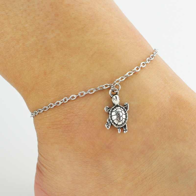 2017 серебряные цепочки с Мода Милые простые животных Черепаха браслеты ювелирные изделия для женщин Подарки ботильоны браслет ноги