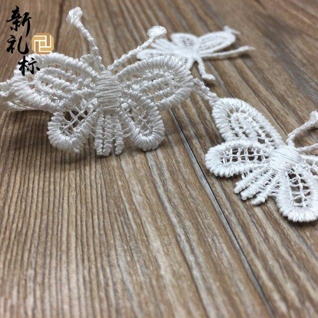 Tissu dentelle fleur blanc Polyester 60Yards   Broderie, bordure papillon blanc, fournitures de couture, vêtements, garniture artisanale, bricolage