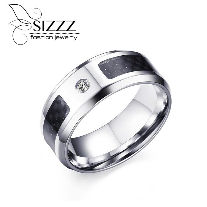 SIZZZ 8mm Men's Wedding Band Ring Black Carbon Fiber Inlay ...