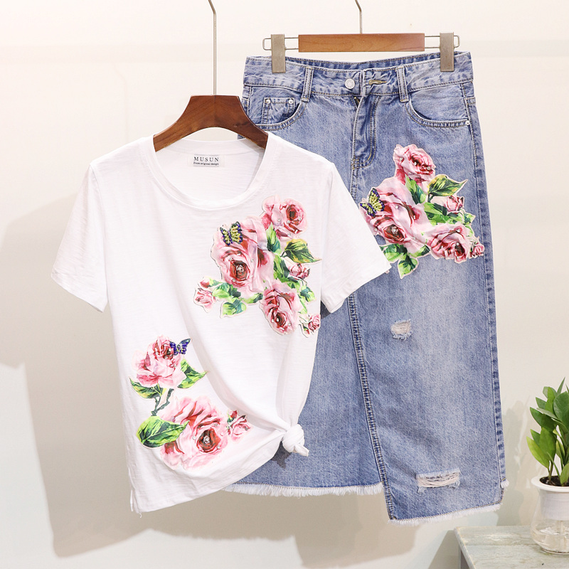 Amolapha Women Flower  Applique Sequins TShirts+Mid Calf Irregular Denim Jean Skirts Sets Suit
