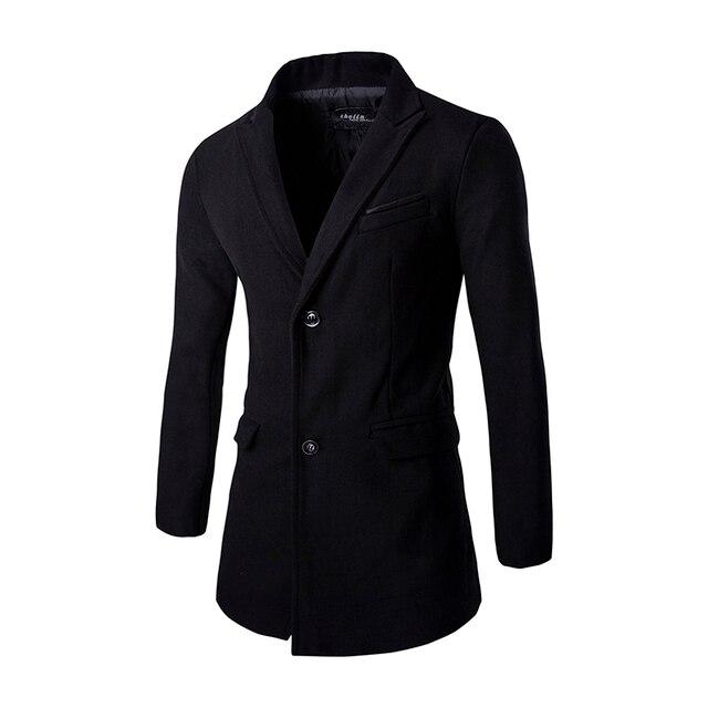 Long Black Coats Men 2016 Fashion Long Sleeve Slim Fitness Male Brief Trench Jacket Outerwear Business Wool Coat Windbreaker z15