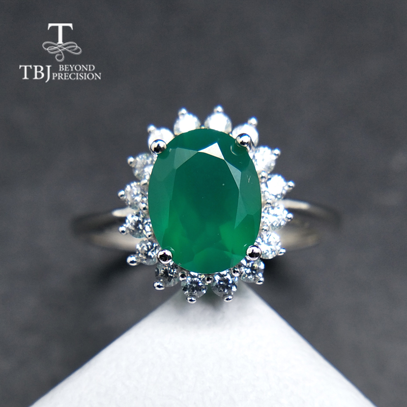 TBJ,Hot sales natural green agate Diana's ring in 925 sterling silver charming excellent jewelry for women mom as daily wear wwd women s wear daily 2012 11 26