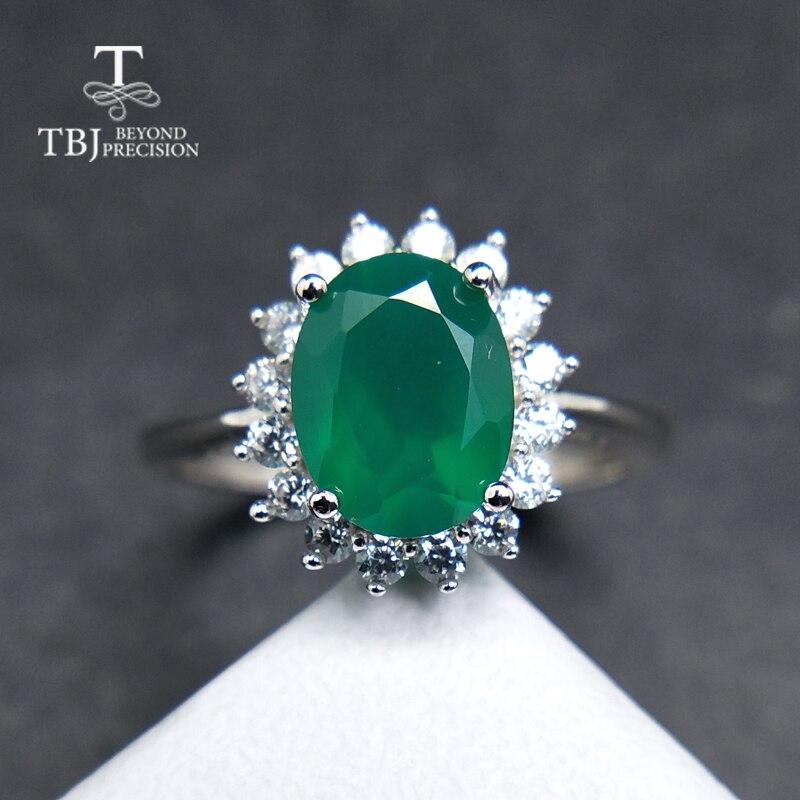 Offen Tbj, Heiße Verkäufe Natürliche Grüne Achat Diana Der Ring In 925 Sterling Silber Charming Ausgezeichnete Schmuck Für Frauen Mom Als Tägliche Tragen