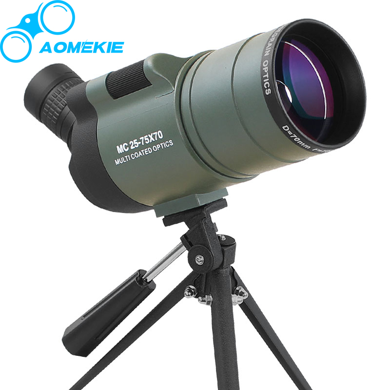 AOMEKIE 25-75X70 MAK Zoom Spektiv mit Stativ für Vogelbeobachtung Wasserdichte Hohe Reichweite Freizeitscheibenschießen Monocular-teleskop