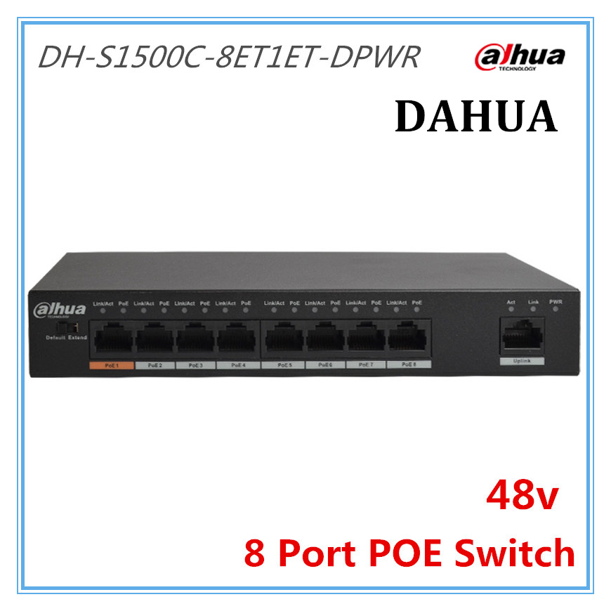 цена DH 8 Ports POE Switch Standard 48v Not burn the machine 250 meters transmit for Security cameras and CCTV ip system
