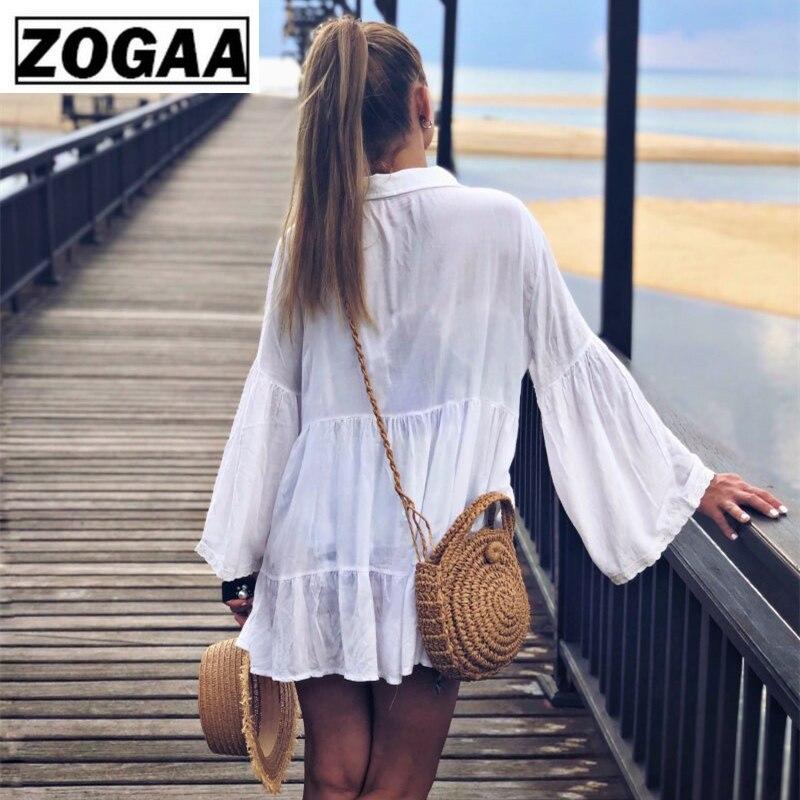 Cotton Tunic Beach Dress 2019 White Mini Dress Plus Size Bohemian Style Dresses Sexy Women Summer Dresses Vestidos in Dresses from Women 39 s Clothing