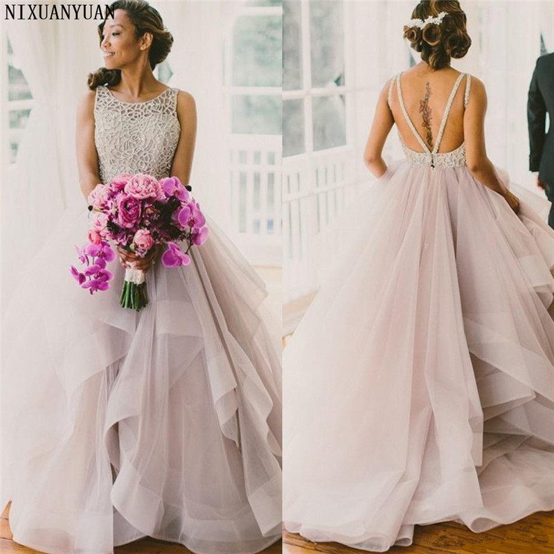 Cheap Plus Size Ball Gown Wedding Dresses: Classy Blush Tulle Ball Gown Wedding Dresses 2019 Beaded