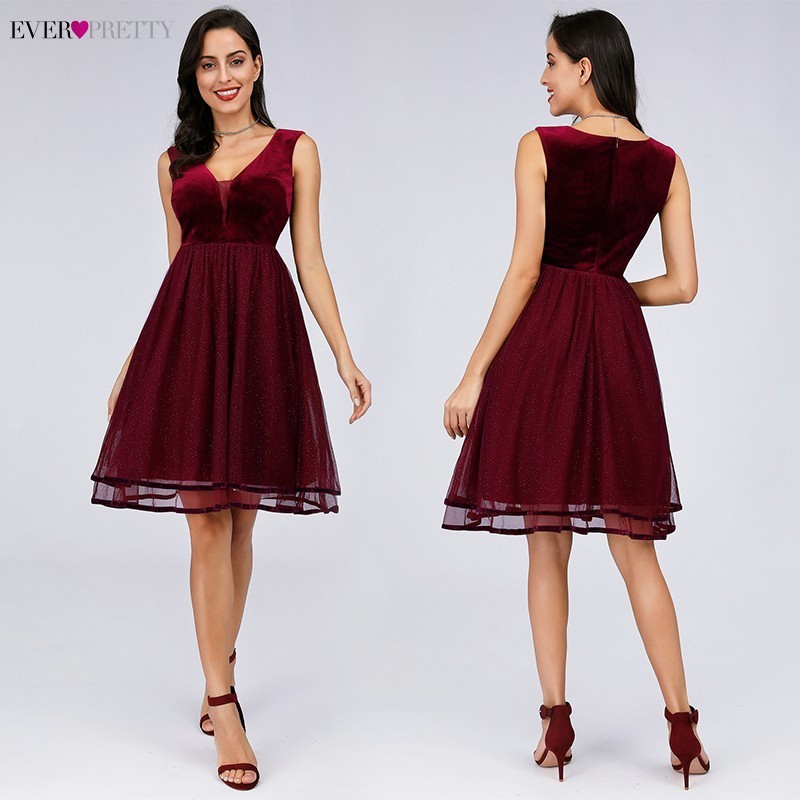 Sexy Burgundy Homecoming Dresses Short Ever Pretty A-Line V-Neck Sleeveless Elegant Formal Graduation Dresses Sukienka Tiulowa