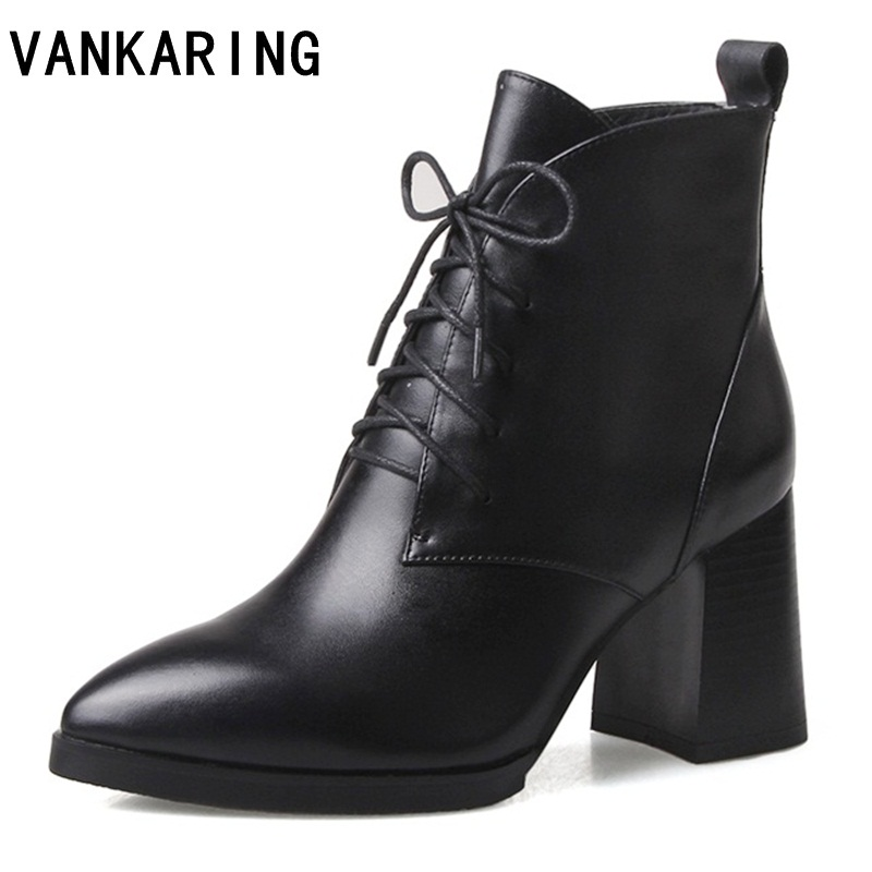 2019 New genuine leather chunky wedges ankle boots women sexy pointed toe short cowboy boots high heels black shoes boots women