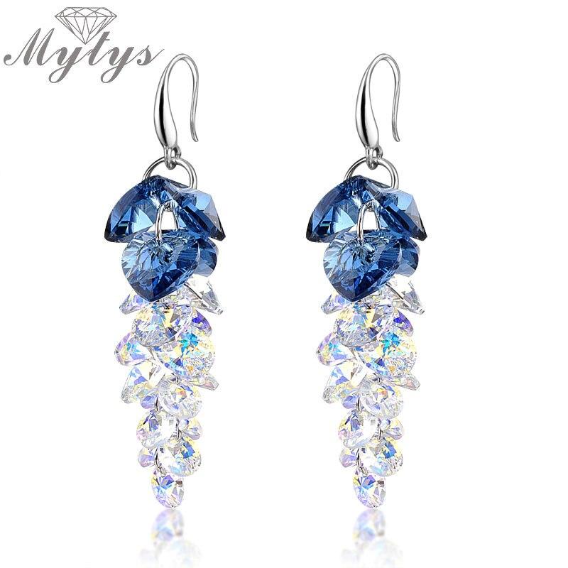 Mytys Moda Cluster di Cristallo Cubico Ciondola Gli Orecchini Da Sposa Nuovi Monili Grigio Blu CE104