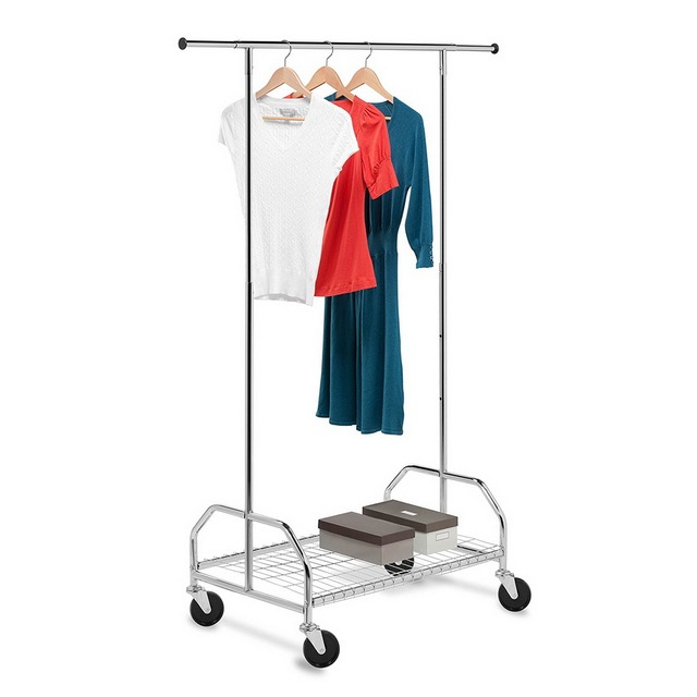 Trolley Type Adjule Clothes Hanger Stand Drying Rack Movable Clothing