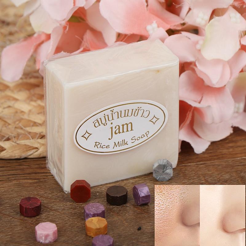 Thailand Rice Hand Soap Handmade Collagen Skin Whitening Bathing Tool Rice Milk Soap Skin Care Acne Soap