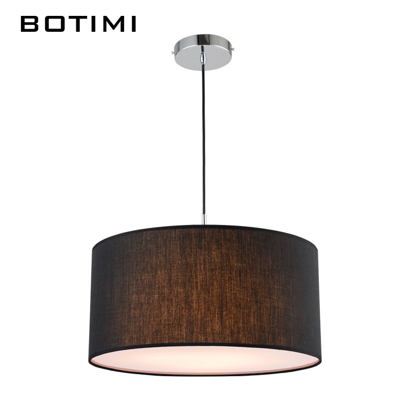 BOTIMI Simple Modern Round Fabric Pendant Lamp For Dining Room Lamparas Colgantes Nordic Bedroom Black White Hanging Lights