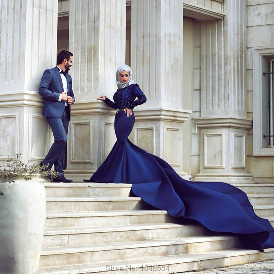 MZY527 deep blue beaded long sleeve satin muslim wedding dress font b hijab b font mermaid