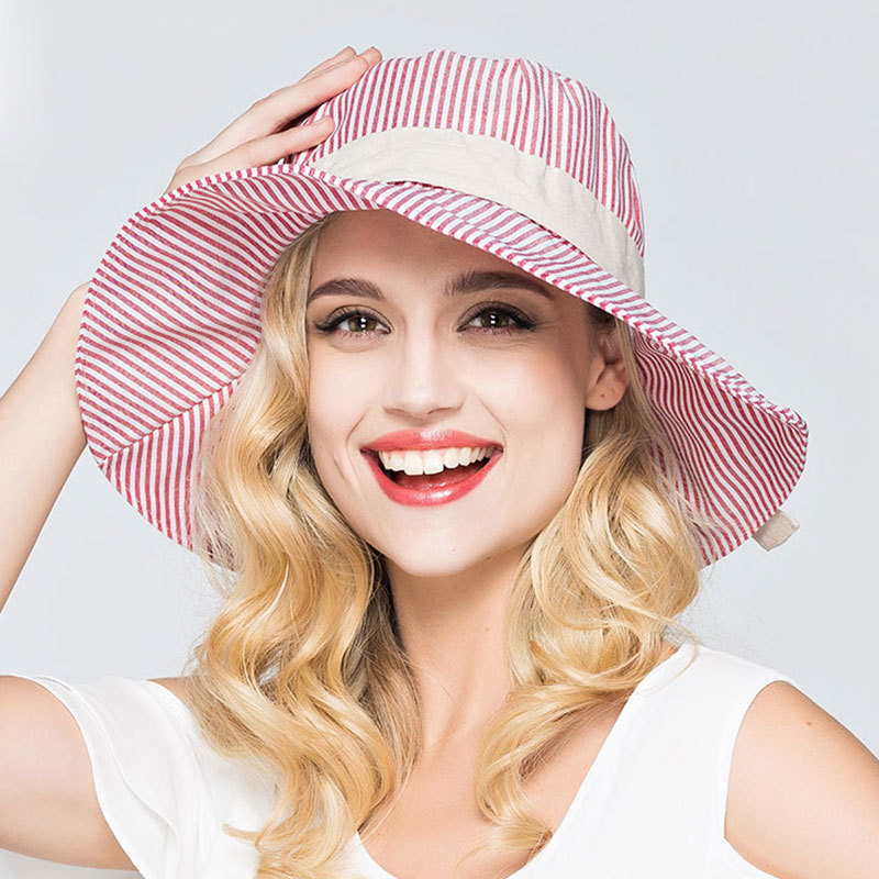 MengsDream 2017 D'été chapeaux Pour Les Femmes Protection Solaire Cou Adulte plage Cap Dames Pare-Soleil Coton Large Bord Femmes Élégantes chapeaux