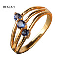 XIAGAO  Fashion 2016  Yellow Gold Plated Ring Blue Crystals Zircon CZ Cocktail Party Rings Love Gifts For Women R131
