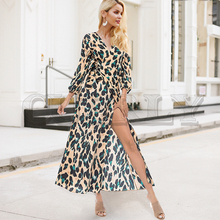 CUERLY Leopard print women long dress Sexy v-neck high waist ladies summer dress Elegant lantern sleeve sashes female dress цены