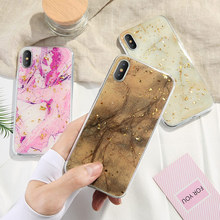 Soft Case Phone Cases For iphone 8 Plus X XS  7 plus phone Cover 6 6Plus Marble Gold Foil Glue