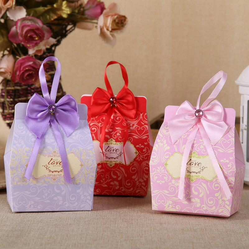 30pcs Bowknot Ribbon Candy Bag Wedding Favor Sweets Chocolates Turquoise Paper Box Jewelry Gift Case Pouch Party Supply
